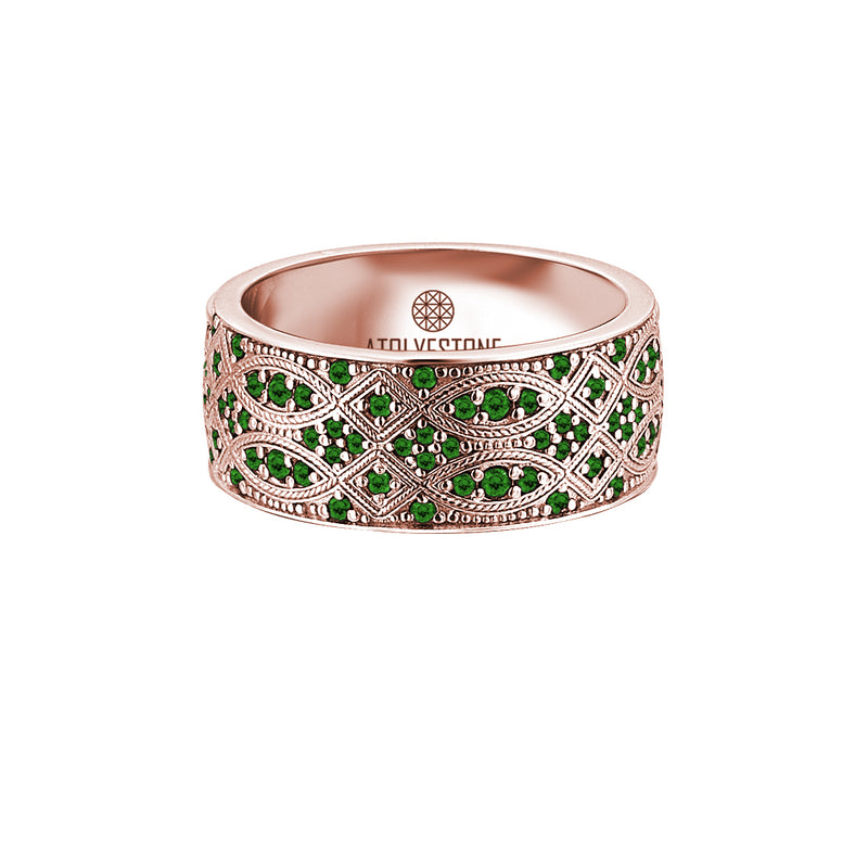 Streamline Band Ring in Rose Gold with Emerald