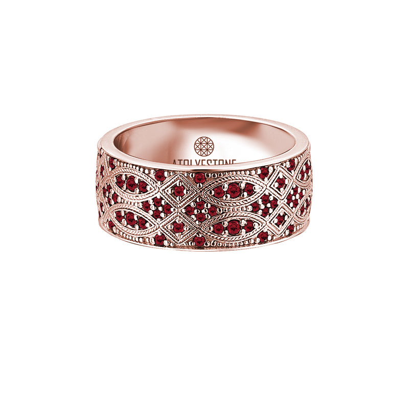 Streamline Band Ring in Rose Gold - Ruby