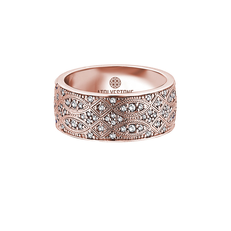 18K Rose Gold Streamline Band Ring with White Diamond