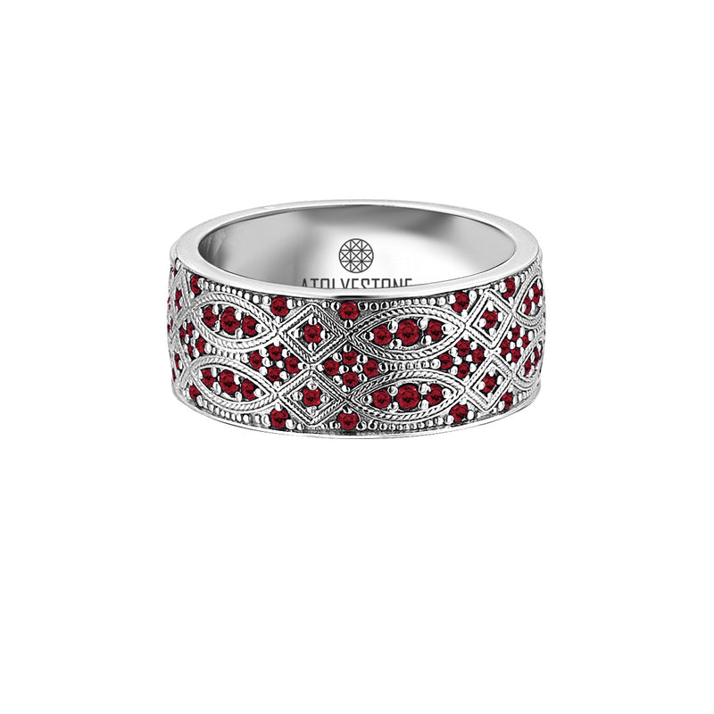 Streamline Band Ring in 18k White Gold with Ruby