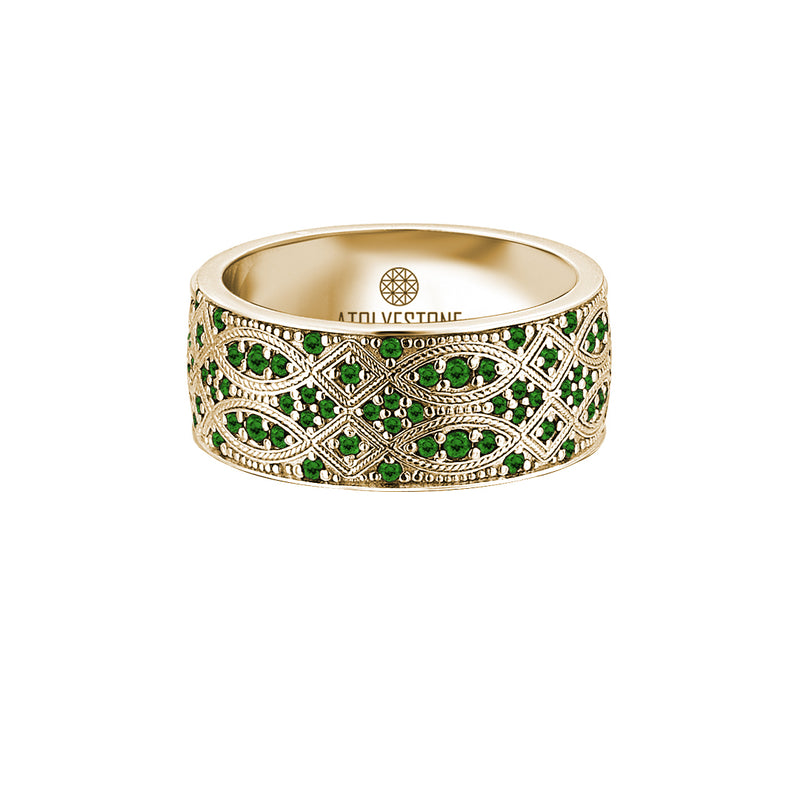 Streamline Band Ring in 18k Gold with Emerald