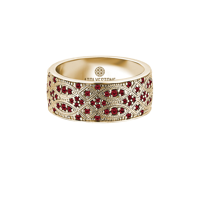 Streamline Band Ring in Gold with Ruby