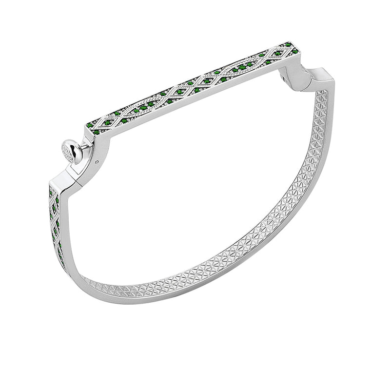 Streamline Bangle in White Gold with Emerald