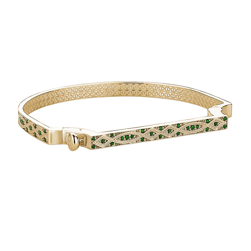 Streamline Bangle in Gold with Emerald