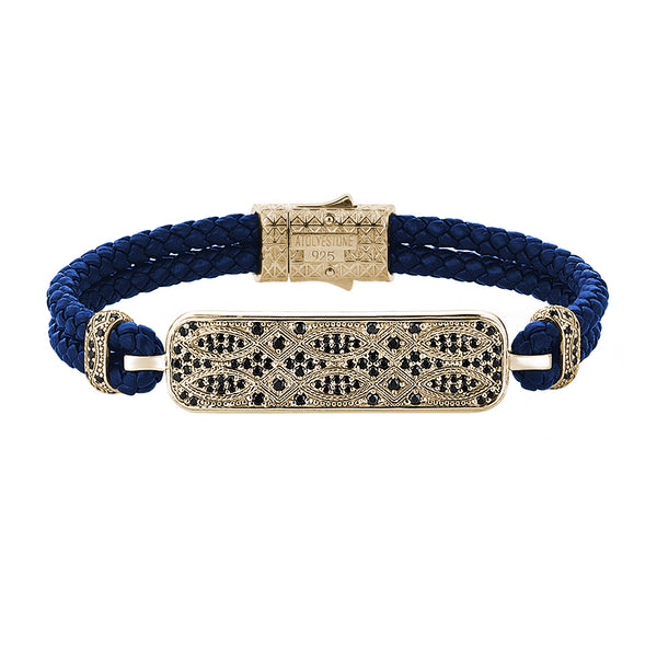 Streamline Blue Leather Bracelet-Yellow Gold
