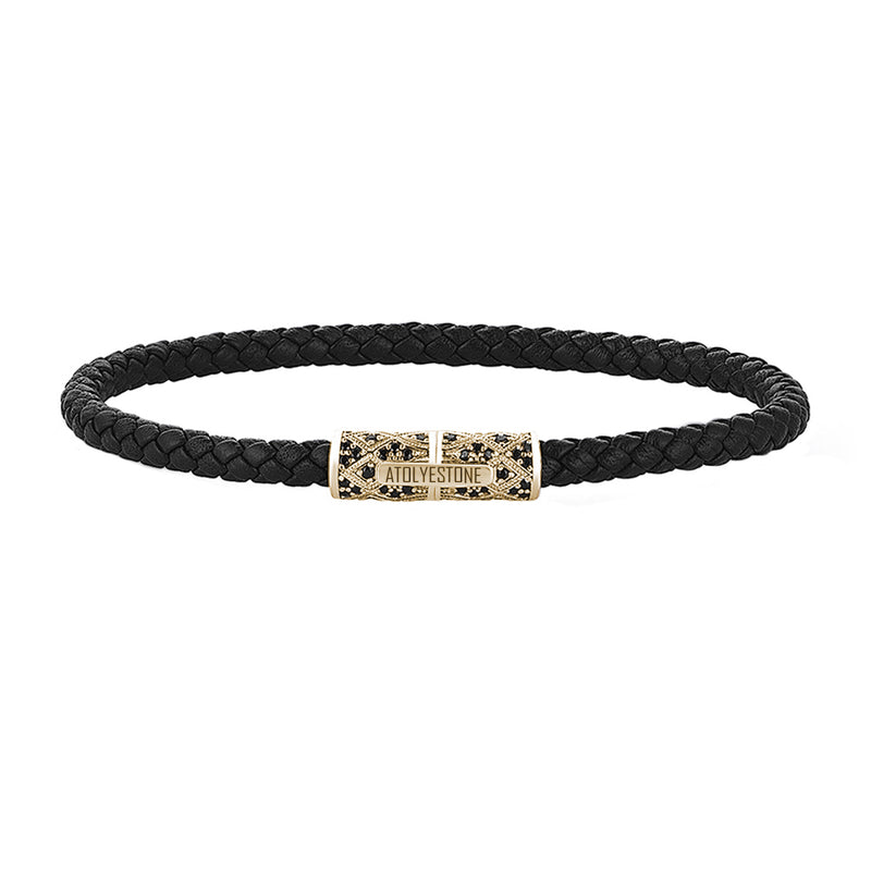 Streamline Minimalist Black Leather Bracelet - Yellow Gold