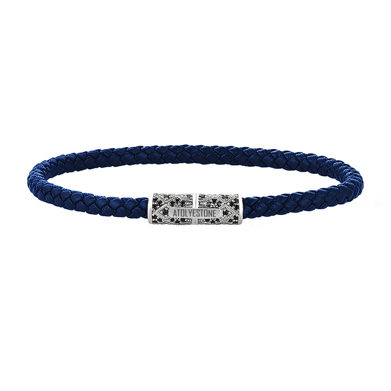 Streamline Minimalist Blue Leather Bracelet - Silver