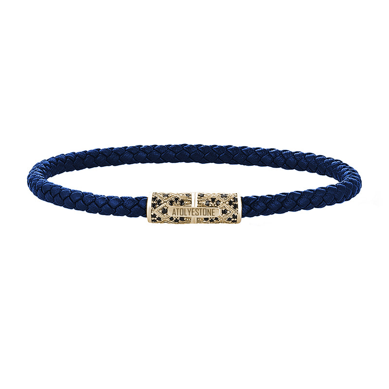 Streamline Minimalist Blue Leather Bracelet - Yellow Gold
