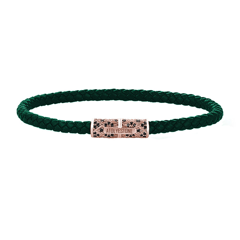 Streamline Minimalist Dark Green Leather Bracelet - Rose Gold