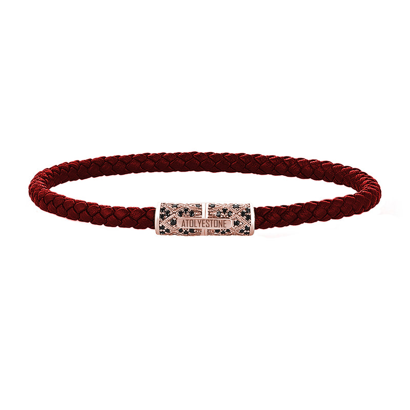 Streamline Minimalist Dark Red Leather Bracelet - Rose Gold