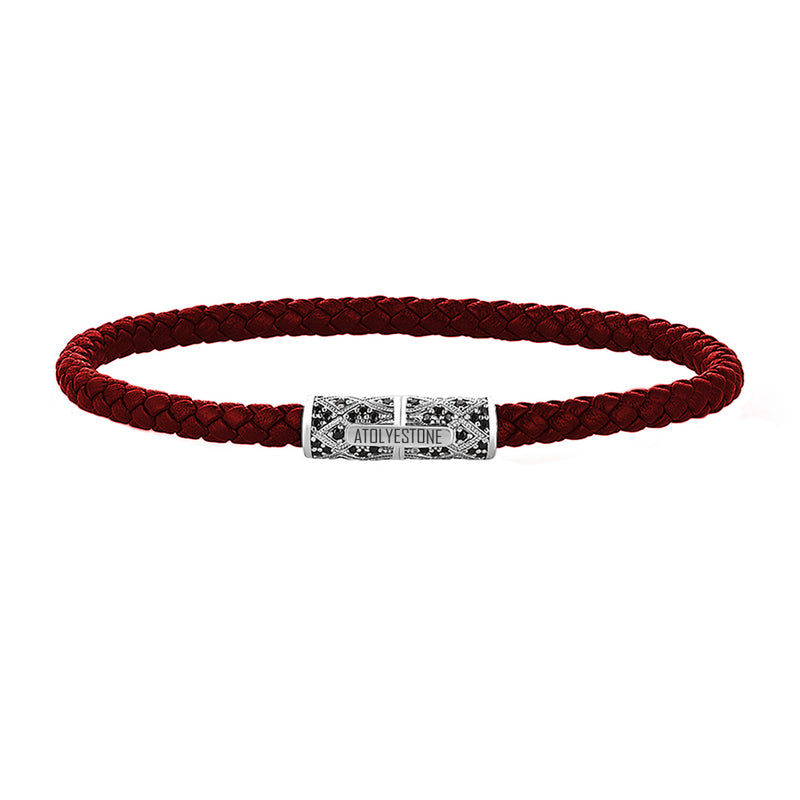 Streamline Minimalist Dark Red Leather Bracelet - Silver