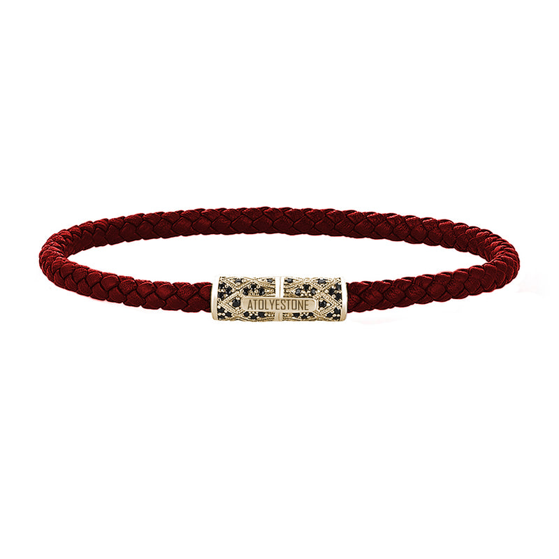 Streamline Minimalist Dark Red Leather Bracelet - Yellow Gold