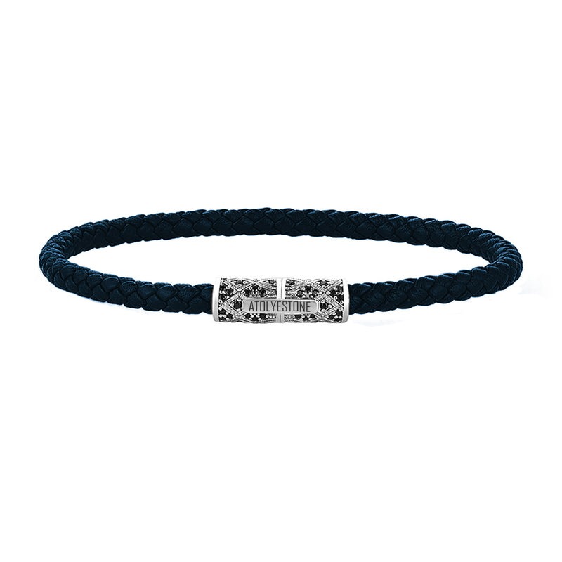 Streamline Minimalist Navy Leather Bracelet - Silver