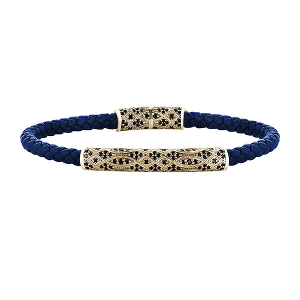 Streamline Premium Blue Leather Bracelet - Yellow Gold