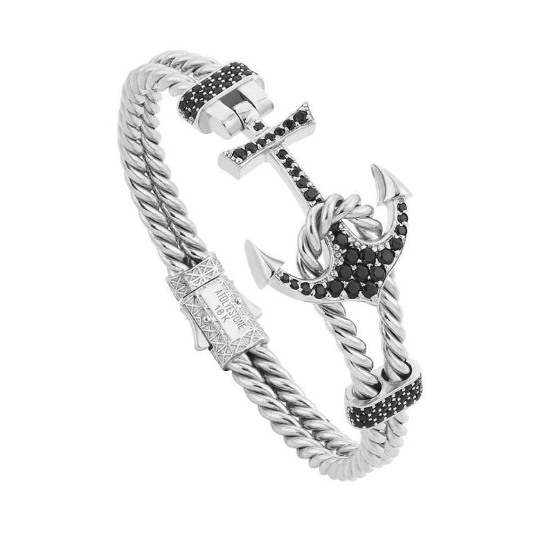 Twined Anchor Bangle - Solid Gold - White Gold - Cubic Zirconia