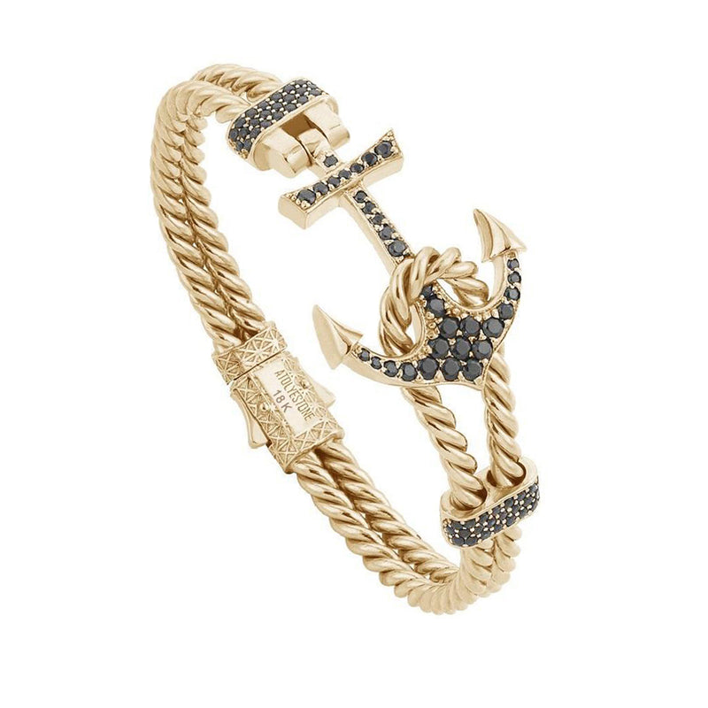 Twined Anchor Bangle - Solid Gold - Yellow Gold - Black Diamond