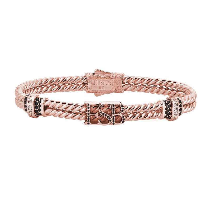 Mens Twined Statements Bracelet - Rose Gold