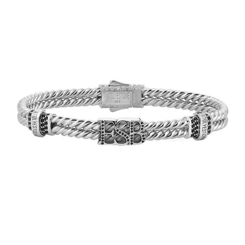 Mens Twined Statements Bracelet - White Gold