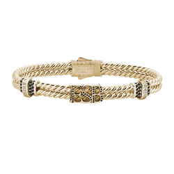 Mens Twined Statements Bracelet - Yellow Gold