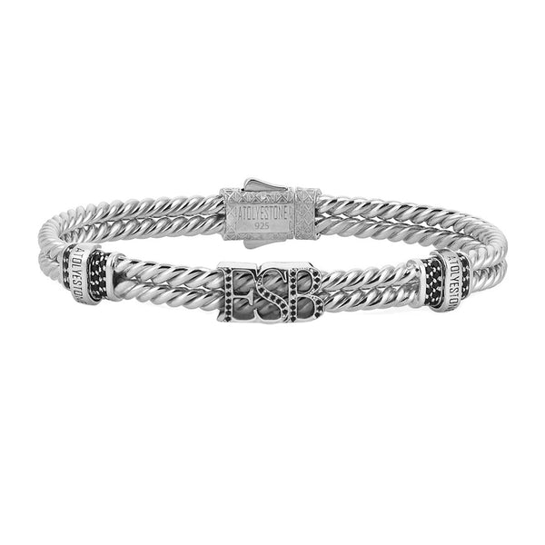 Mens Twined Statements Bracelet - Solid Silver