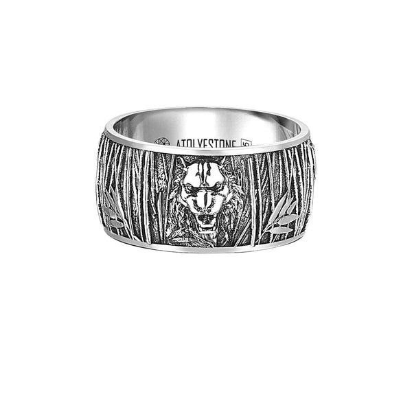 Tiger Band Ring in Silver