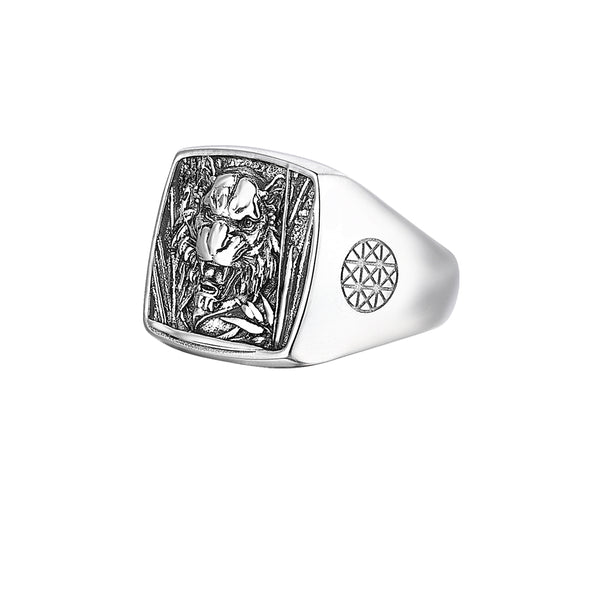 Tiger Cushion Ring in Silver
