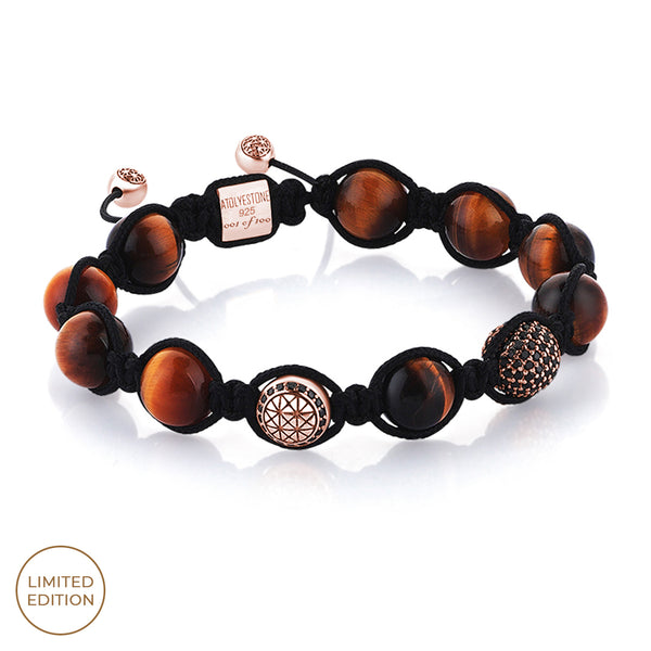 Tiger Eye Beaded Macrame Bracelet - Rose Gold