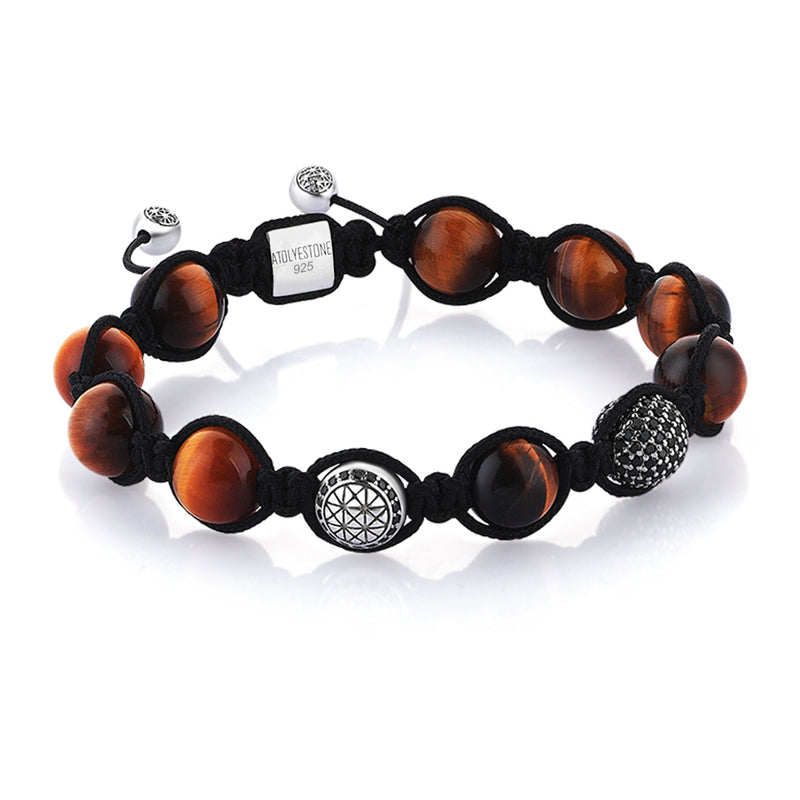 Tiger Eye Beaded Macrame Bracelet - Solid Silver