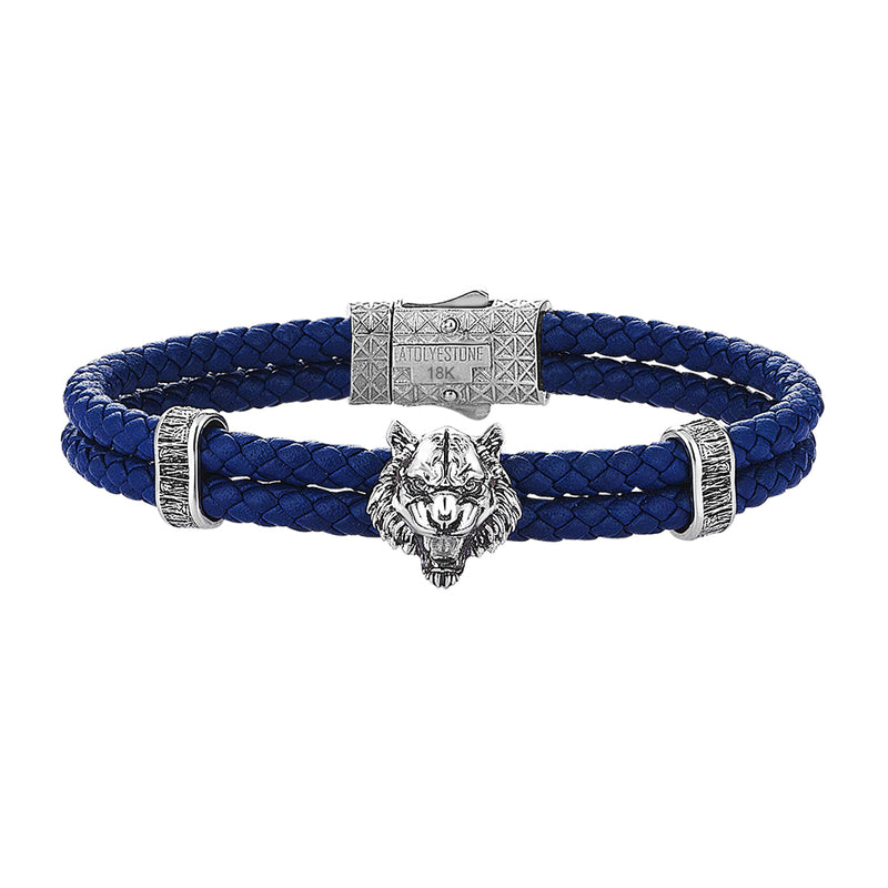 Tiger Leather Bracelet in Solid White Gold