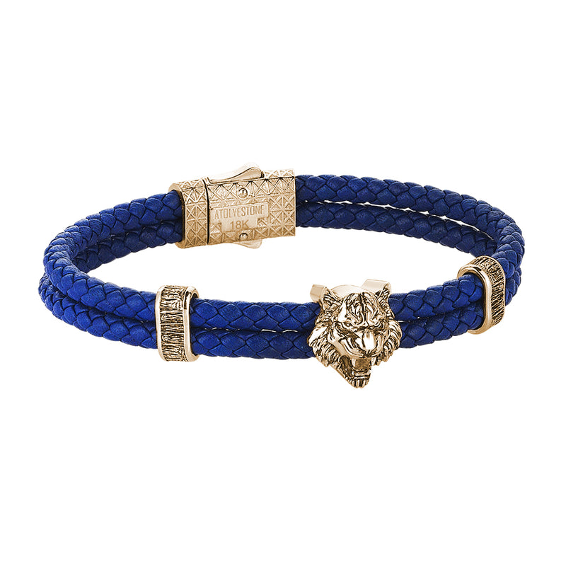 Tiger Leather Bracelet in Solid Yellow Gold