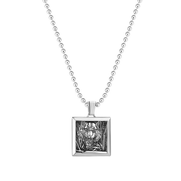 Tiger Square Pendant in Silver (Pendant Only)