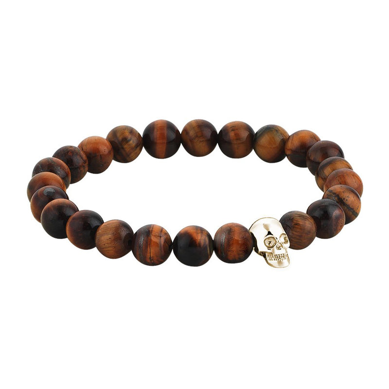 Mens Exclusive Skull Beaded Bracelet - Yellow Gold - Tiger Eye