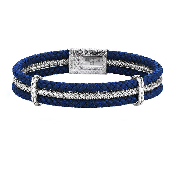 Triple Row Elements Leather Bracelet - Blue Leather