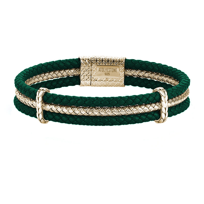 Triple Row Leather Bracelet