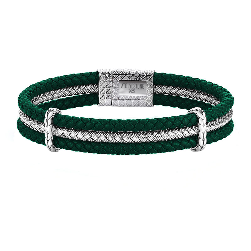 Triple Row Elements Leather Bracelet - Dark Green Leather