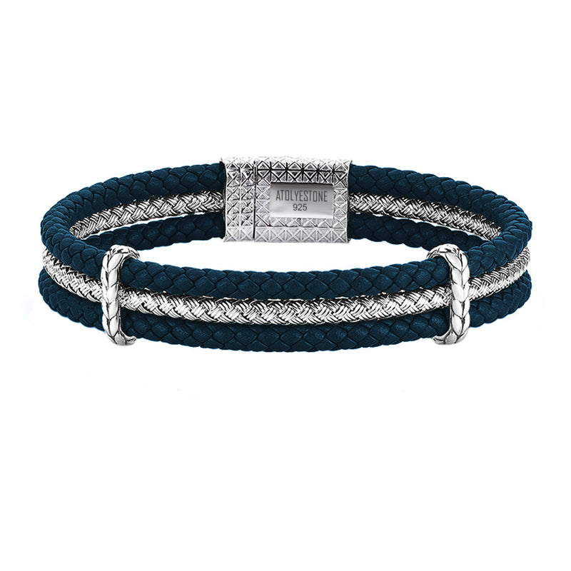 Triple Row Elements Leather Bracelet - Navy Leather