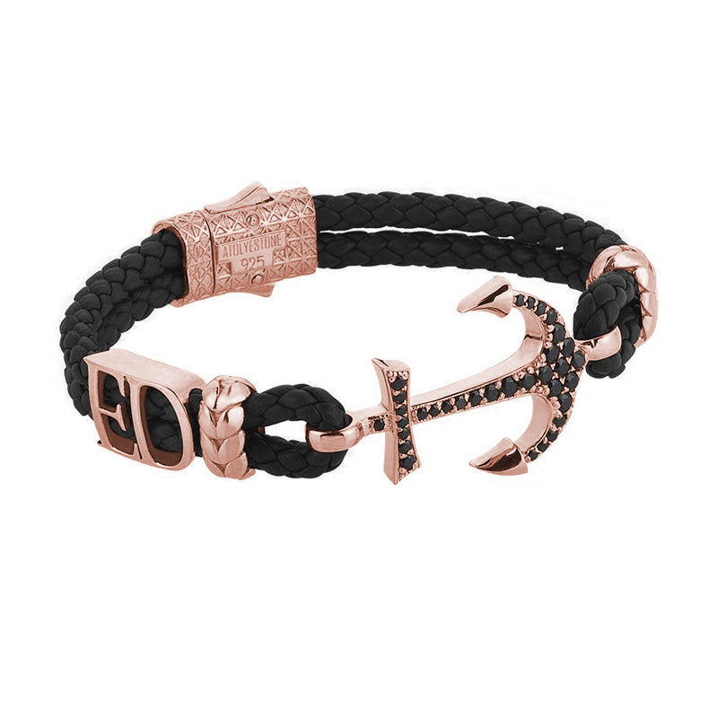 Women's Statements Anchor Leather Bracelet - Rose Gold - Black Leather