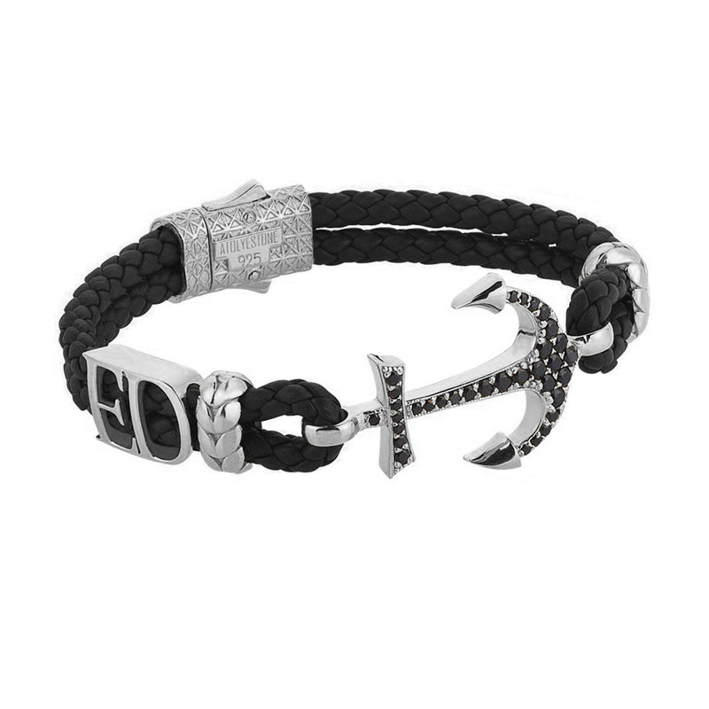 Women's Statements Anchor Leather Bracelet - Silver - Black Leather