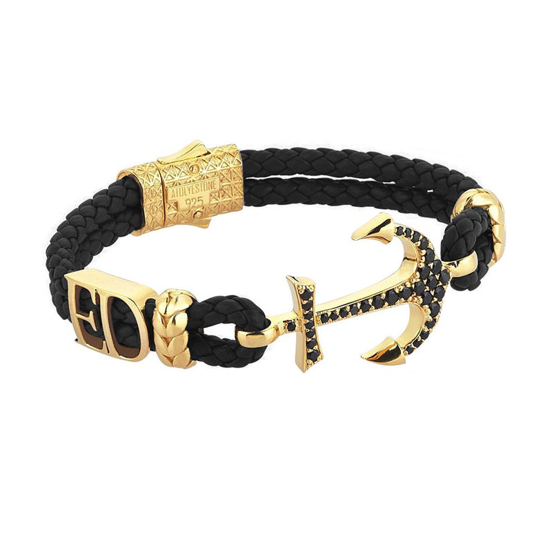 Women's Statements Anchor Leather Bracelet - Yellow Gold - Black Leather
