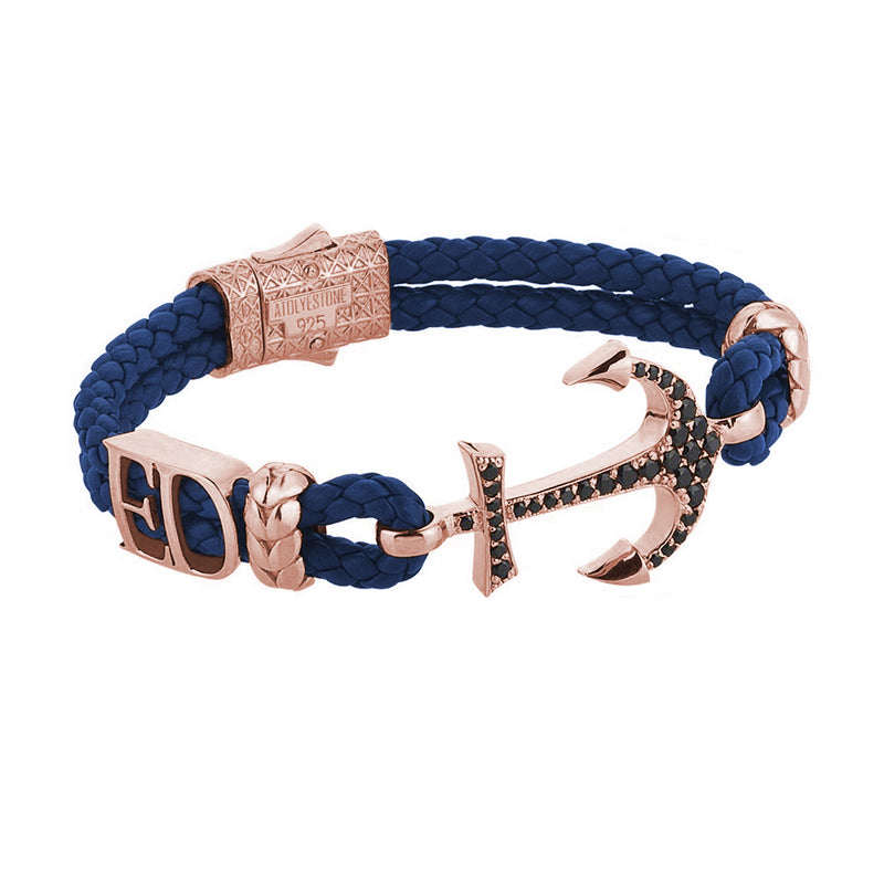 Women's Statements Anchor Leather Bracelet - Rose Gold - Blue Leather