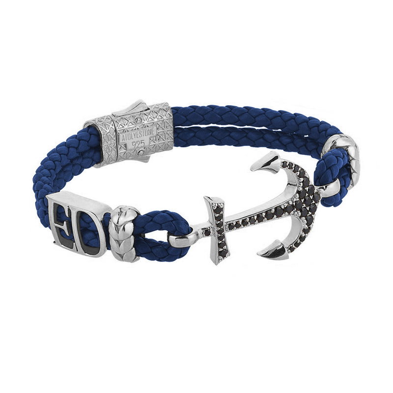 Women's Statements Anchor Leather Bracelet - Silver - Blue Leather