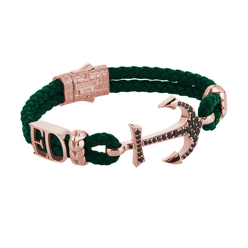Women's Statements Anchor Leather Bracelet - Rose Gold - Dark Green Leather