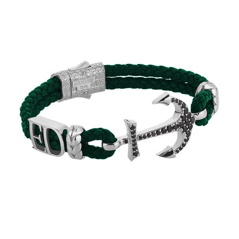 Women's Statements Anchor Leather Bracelet - SIlver - Dark Green Leather