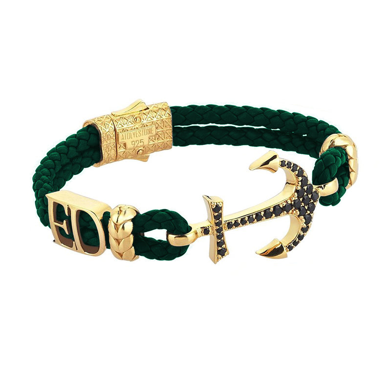 Women's Personalized Anchor Leather Bracelet - Yellow Gold - Dark Green Leather