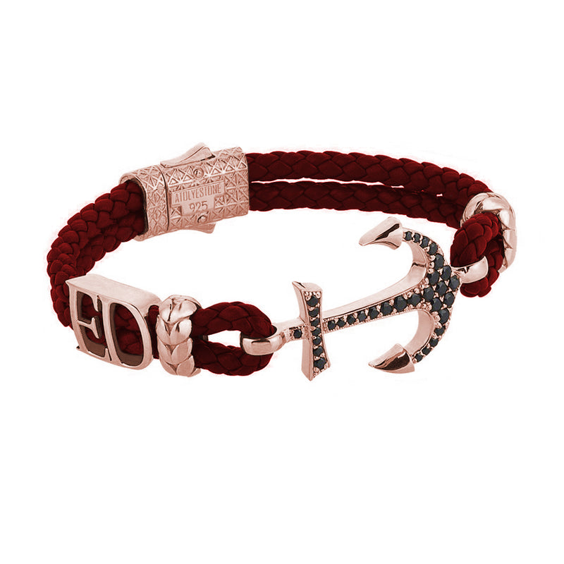 Women's Personalised Anchor Leather Bracelet - Rose Gold - Dark Red Leather
