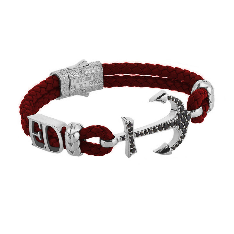 Women's Statements Anchor Leather Bracelet - Silver - Dark Red Leather