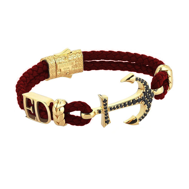Women's Statements Anchor Leather Bracelet - Yellow Gold - Dark Red Leather