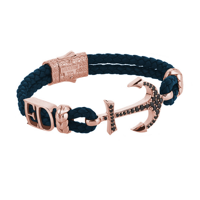 Women's Statements Anchor Leather Bracelet - Rose Gold - Navy Leather