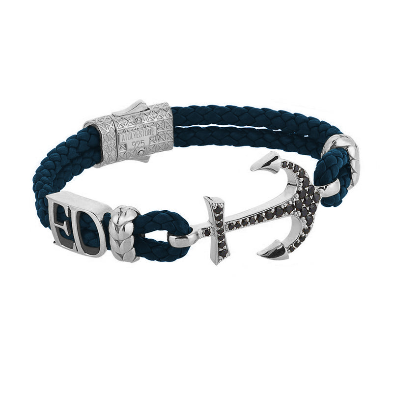 Women's Statements Anchor Leather Bracelet - Silver - Navy Leather