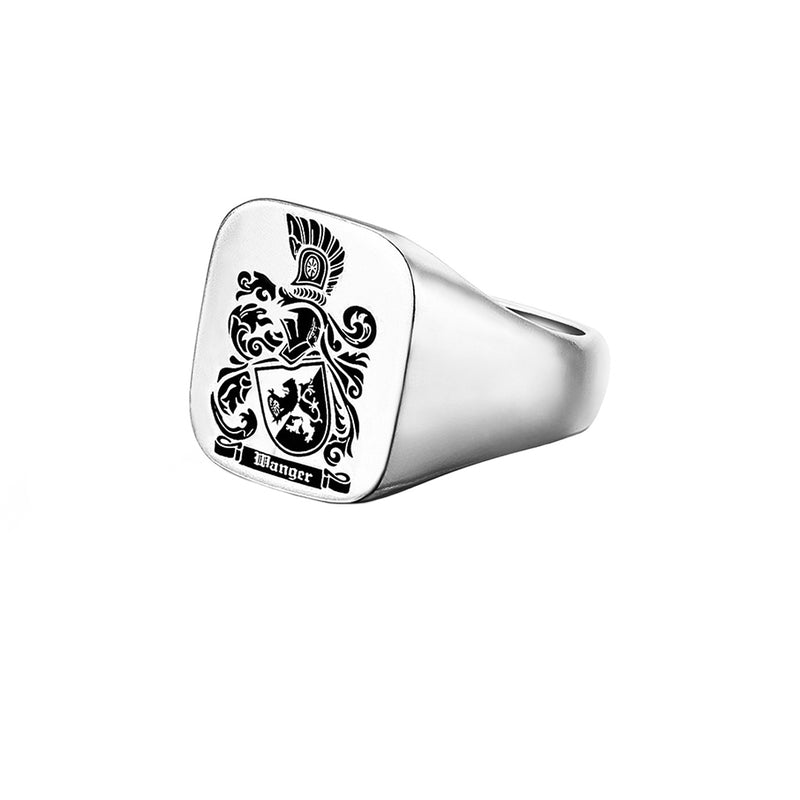 Carved Signet Square Ring Base for Family Crest-White Gold